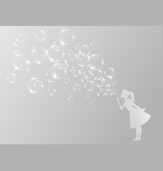 Little girl blowing bubbles vector