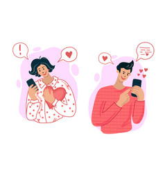 love correspondence online a couple in love chat vector image