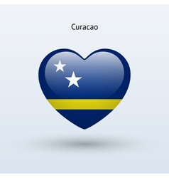 Love Curacao symbol Heart flag icon vector image
