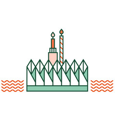 loy kratong festival linecolor vector image