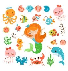 Mermaid and sea friends vector image vector image