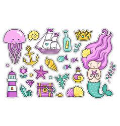 Mermaid jellyfish cute sea animals fish sea vector