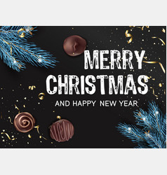 merry christmas and happy new year candy and pine vector image