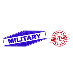 Military unclean stamp seals in round and vector