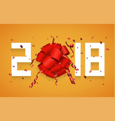 Modern concept 2018 happy new year and gift vector