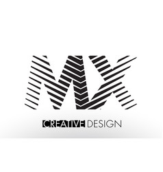 Mx m x lines letter design with creative elegant vector