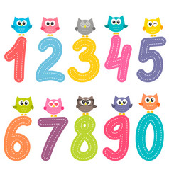 numbers from zero to nine with cute owls vector image
