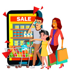 Online shopping mother father child with vector