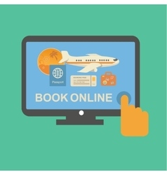 Online travel tickets booking service with plane vector image