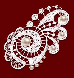 Openwork lace with pearls Realistic vector image
