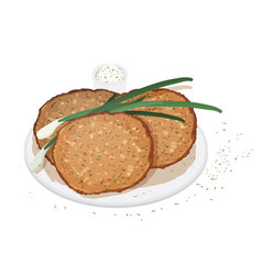 Pancakes blini or crepes served on plate with vector