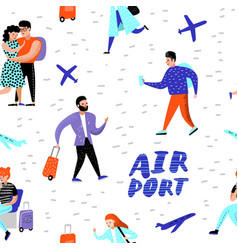 people traveling by plane seamless pattern vector image
