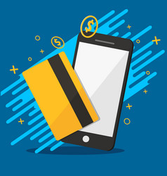 phone and credit for molie payments background vector image