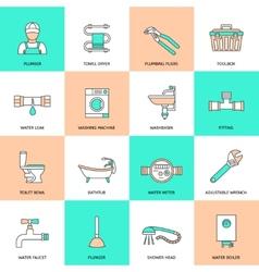 Plumbing Icons Flat Line Set vector image