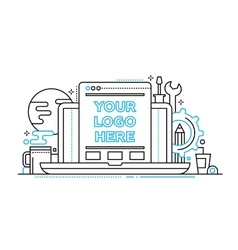 Programming Tools - line design illistration with vector image