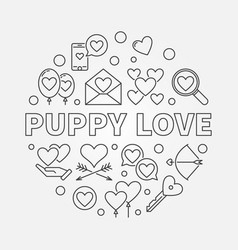 puppy love round in outline vector image