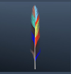 rainbow feather icon realistic style vector image