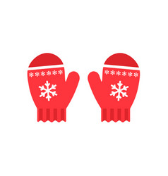 Red mittens snowflakes on mittens flat design vector