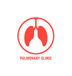 Red outline pulmonary clinic logo vector