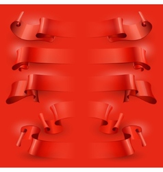 Ribbons set on a red background vector