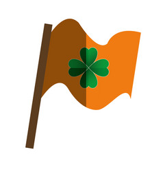 Saint patrick flag with clover leaf vector