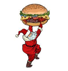 santa claus with burger christmas menu fast food vector image