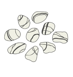 Sea stones collection on white background vector