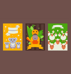 set banners with cute australian animals in vector image