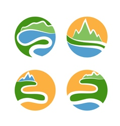Set icon of mountainswaves and sun vector
