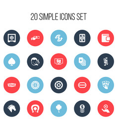 Set of 20 editable gambling icons includes vector