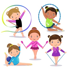 Set of rhythmic gymnastics cute girls vector