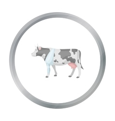 Sick cow with bandage on a leg icon in cartoon vector image