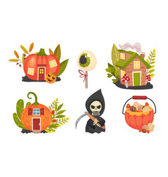 Sinister halloween holiday symbols with pumpkin vector