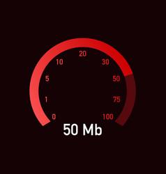 speed test speedometer internet speed 50 mb vector image