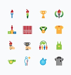 Sport icons color flat line design vector