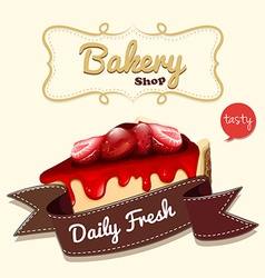 Strawberry cheesecake and banner vector