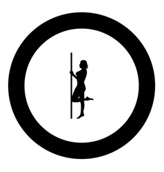 Striptease performer woman on tube icon black vector