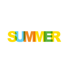 Summer phrase overlap color no transparency vector