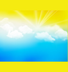 sunshine sky abstract yellow blue clouds vector image