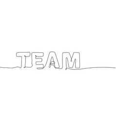 Team - one continuous line design style lettering vector