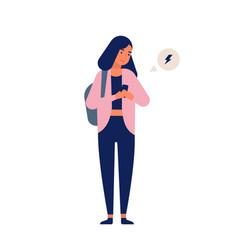 Teenage girl receiving notification on smartphone vector