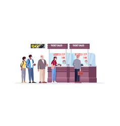 Ticket sales counter semi flat rgb color people vector