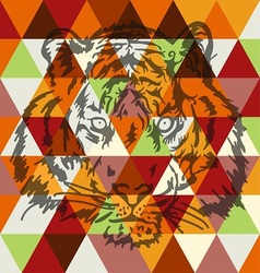 Tiger face poster art vector image
