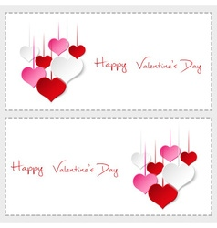 Two happy valentine cards with hanging colorful vector