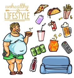 Unhealthy Lifestyle - Man vector