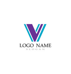v logo and symbols template icons vector image