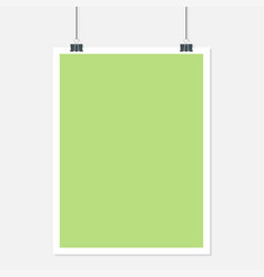 vertical hanging paper with shadow on a grey vector image