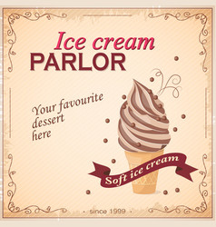 Vintage banner with ice cream vector