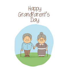 White background with scene elderly couple holding vector