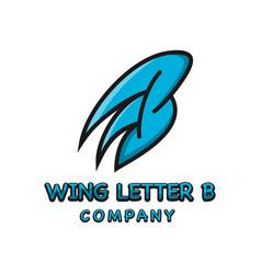 wing logo design letter b vector image